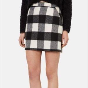 Topshop Black Gingham Buffalo Check Skirt - 12